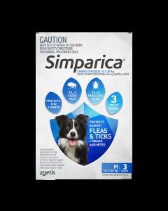 Simparica Dog Medium 10.1-20kg Blue