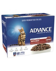 Advance 1+ Adult Cat Beef In Gravy - 12 x 85g