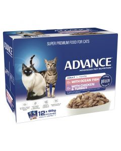 Advance 1+ Adult Cat Multi Pack Jelly - 12 x 85g