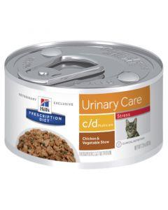 Hills Prescription Diet Cat c/d MultiCare Urinary Stress Chicken & Vegetable Strew 24x82g Can