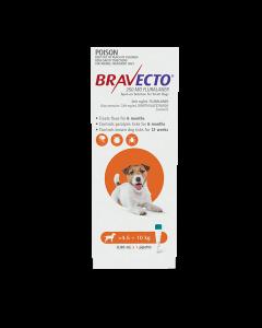 Bravecto Spot On Dog Small 4.5-10kg Orange 1 Pack