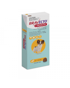 Bravecto 1 Month Very Small Dogs 2-4.5kg Yellow 1 Pack