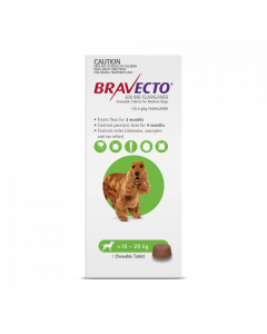 Bravecto Chewables Dog Medium 10-20kg Green
