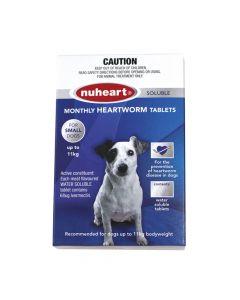 Nuheart Heartworm Tablet Dog Small 0-11kg Blue