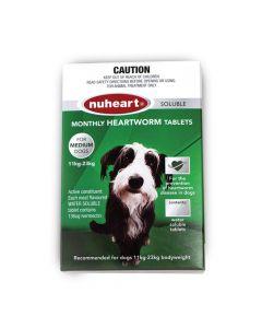 Nuheart Heartworm Tablet Dog Medium 11-23kg Green