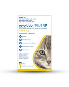 Revolution Plus Cat & Kitten Small 1.25-2.25kg Yellow 3 Pack