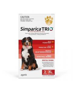 Simparica Trio Extra Large Dogs 40.1-60kg Red