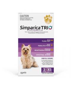 Simparica Trio Extra Small Dogs 2.6-5kg Purple 3 Pack