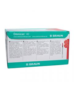 Braun Omnican Syringe Insulin 40iu 1.0ml 30g x 12mm 100's
